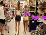 Two german women fun in public store