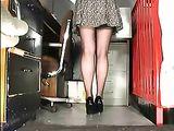 Office Girl Reveals Sexy Upskirt Hot Stockings on Hidden Cam