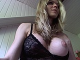 Busty blonde going wild and naked in front of camera for pics